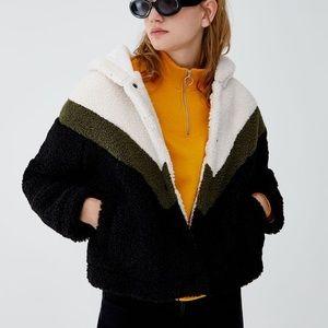Pull and bear teddy jacket - chevron print olive